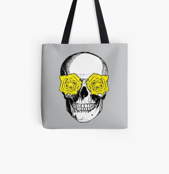 Skull and Roses | Skull and Flowers | Skulls and Skeletons | Vintage Skulls | Grey and Yellow |  All Over Print Tote Bag