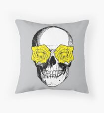 Skull and Roses | Grey and Yellow Throw Pillow