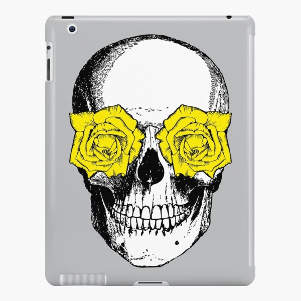 Skull and Roses | Skull and Flowers | Skulls and Skeletons | Vintage Skulls | Grey and Yellow |  iPad Snap Case