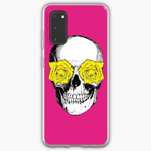 Skull and Roses | Skull and Flowers | Skulls and Skeletons | Vintage Skulls | Pink and Yellow |  Samsung Galaxy Soft Case