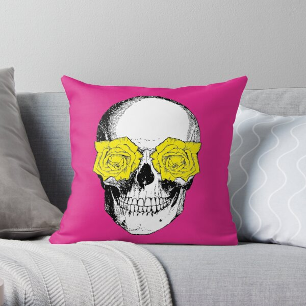 Skull and Roses | Skull and Flowers | Skulls and Skeletons | Vintage Skulls | Pink and Yellow |  Throw Pillow