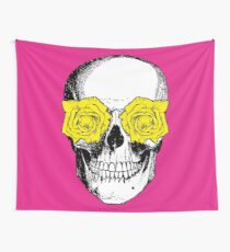 Skull and Roses | Pink and Yellow Wall Tapestry