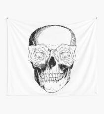 Skull and Roses | Black and White Wall Tapestry