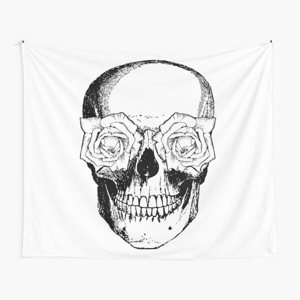 Skull and Roses | Skull and Flowers | Skulls and Skeletons | Vintage Skulls | Black and White | Tapestry