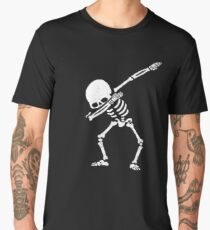 Dabbing Skeleton Shirt - Funny Halloween Dab Skull Men's Premium T-Shirt