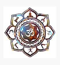 Om Lotus Flower Yoga Poses Photographic Print