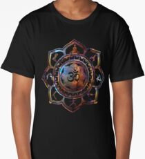 Om Lotus Flower Yoga Poses Long T-Shirt