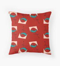 Mid-Century Boomerangs Red and Aqua Throw Pillow