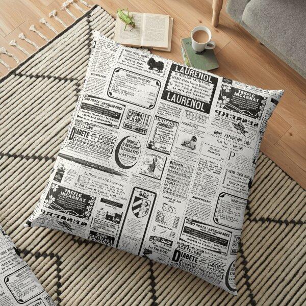 Old Newspaper Floor Pillow