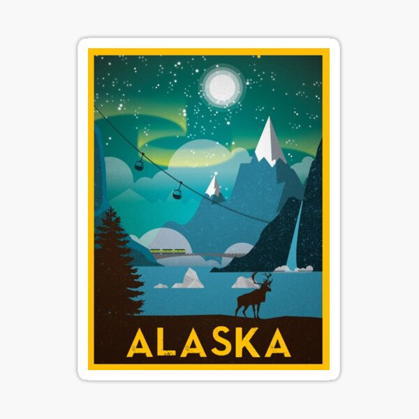 State of Alaska Vintage Travel Poster Sticker