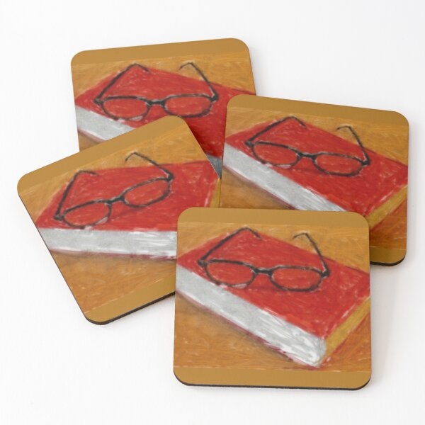 Book Under Glasses Coasters (Set of 4)