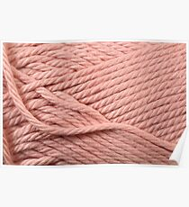 Pink Yarn Texture Close Up Poster