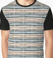 Beige, blue horizontal stripes. Graphic T-Shirt