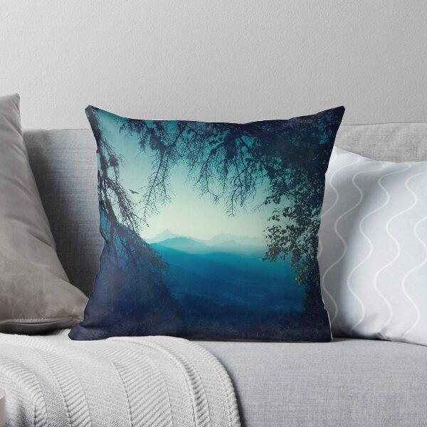 Blue Morning - Hazy Alpine Valley Throw Pillow
