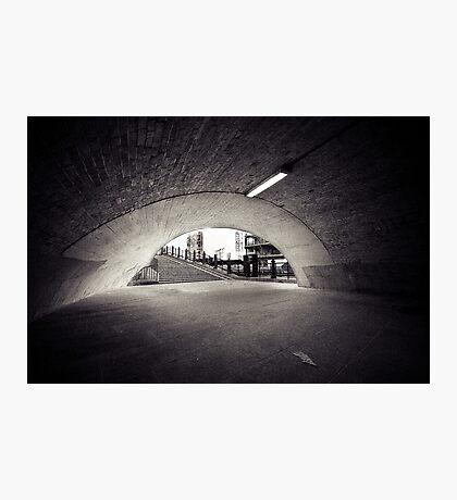 passenger tunnel arc bw Photographic Print