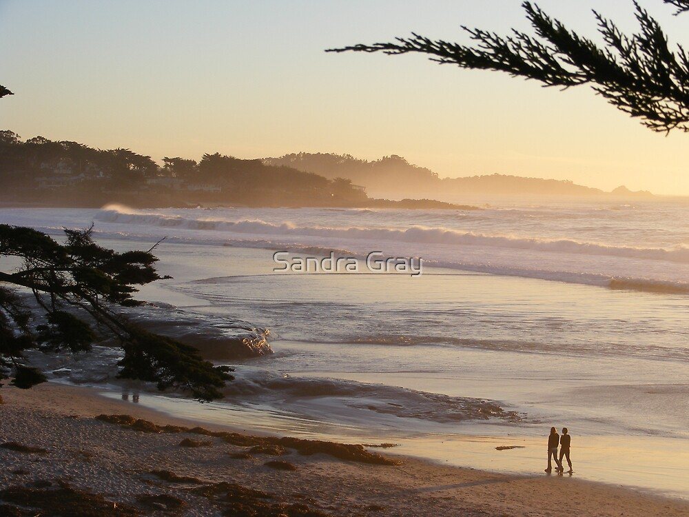 Carmel, CA Peach Sunset by Sandra Gray