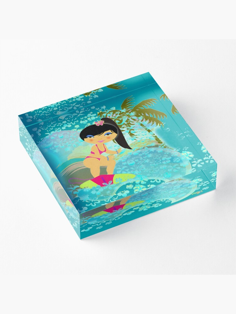 Alternate view of TropoGirl - In the Blue Wave Acrylic Block