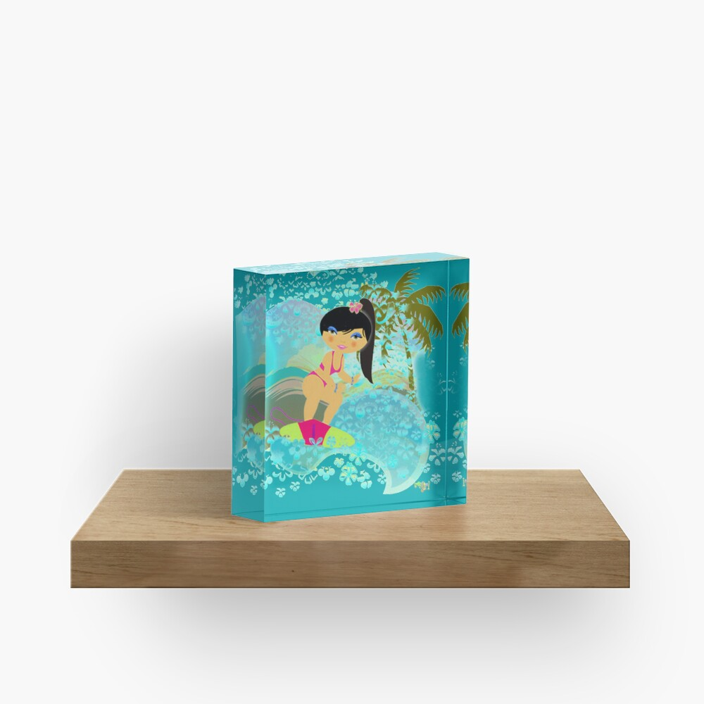 TropoGirl - In the Blue Wave Acrylic Block