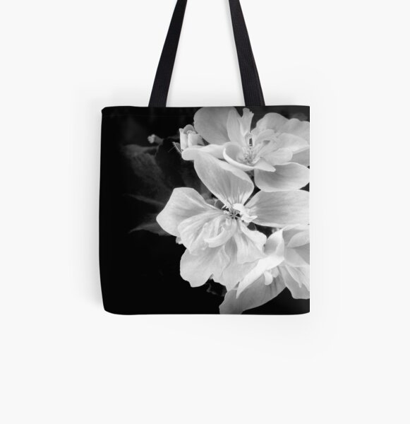 Geranium in black and white All Over Print Tote Bag
