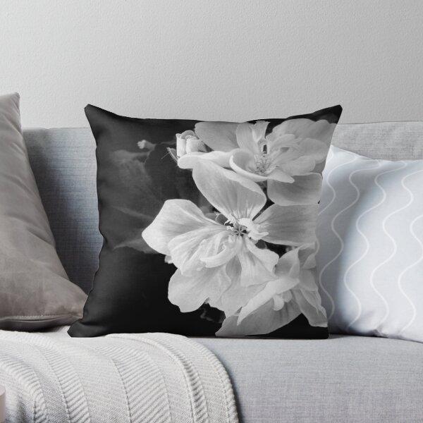 Geranium in black and white Throw Pillow