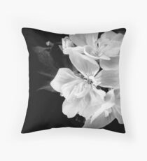 Geranium in black and white Throw Pillow