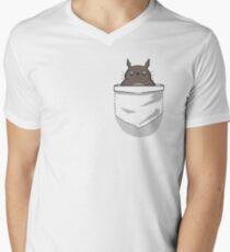Creepy Pocket Totoro Men's V-Neck T-Shirt