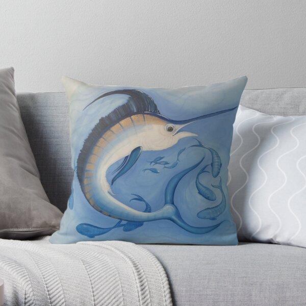 Blue Marlin Big Game Fish Painting Throw Pillow