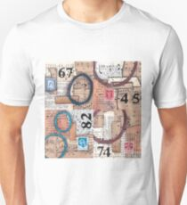 Vintage papers mixed media collage with numbers T-Shirt