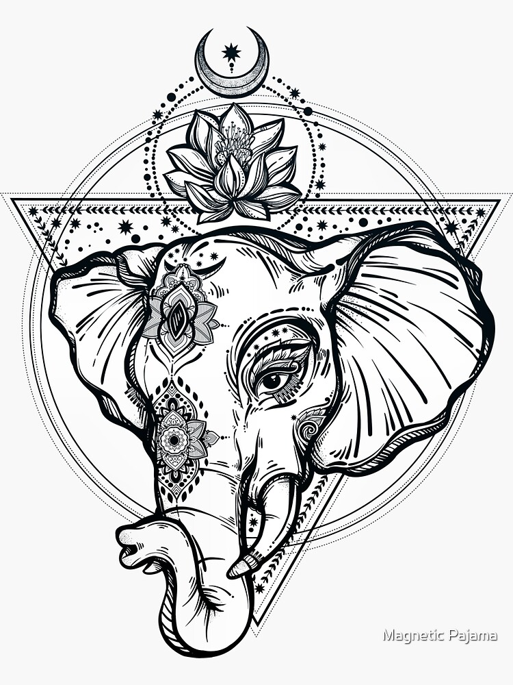 Sacred Elephant with Lotus Flower and Sacred Geometry by MagneticMama