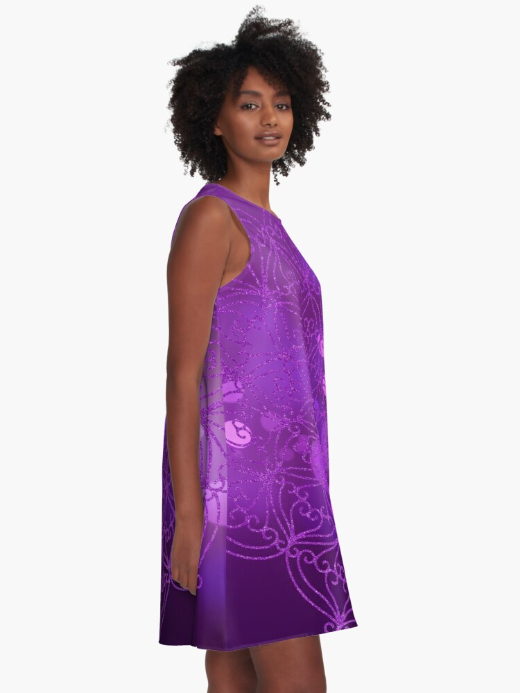 Alternate view of Purple Glitter Mandala With Bokeh Background 4 A-Line Dress