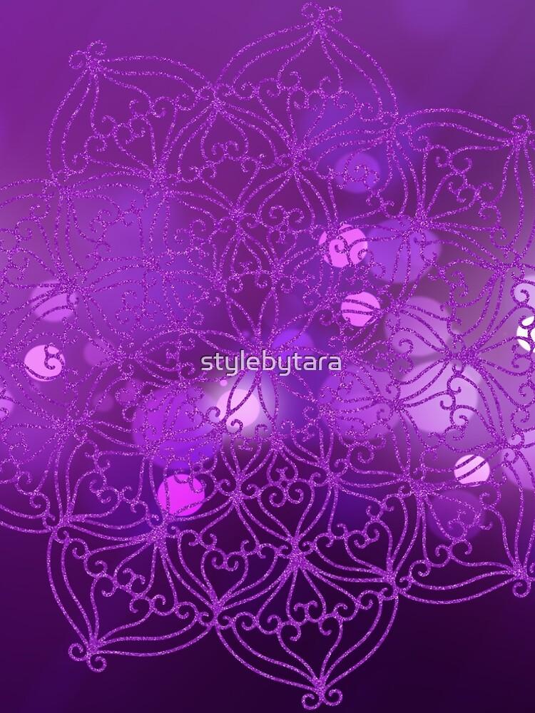 Purple Glitter Mandala With Bokeh Background 4 by stylebytara