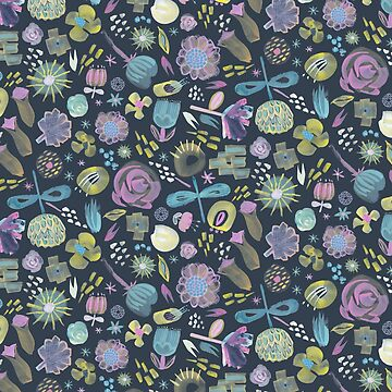 Midnight Floral - a hand painted all over semi- abstract flower repeat on blue black by GabsBuckingham