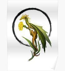 Yellow Flower Dragon Poster