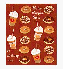 Pumpkin Spice Latte and Doughnuts Photographic Print