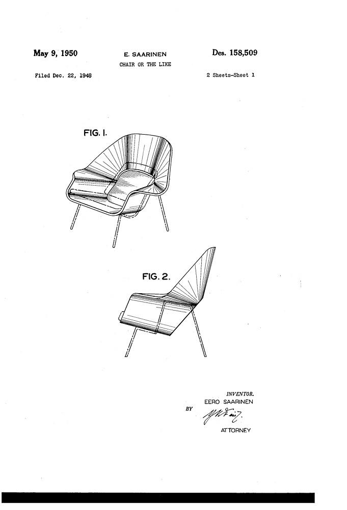 Eero Saarinen   Womb Chair   Patent Artwork By Fascinatingly