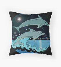 Dolphin`Leap for the Stars II'  Throw Pillow