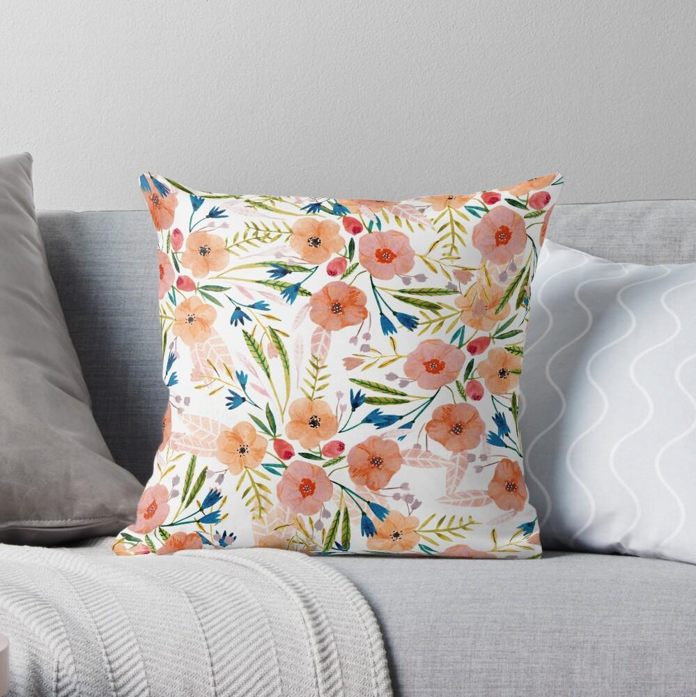 Floral Dance Throw Pillow
