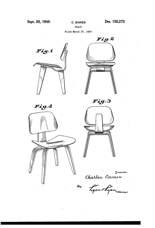 Charles Eames   Molded Plywood Lounge Chair   Patent Artwork By  Fascinatingly