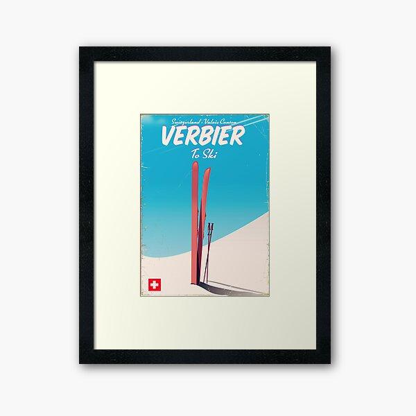 Verbier Vintage ski travel poster Framed Art Print