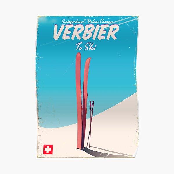 Verbier Vintage ski travel poster Poster