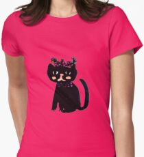 super black cat in Frida Kahlo floral headband T-Shirt