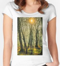 Early morning, Woodacre Great Wood Women's Fitted Scoop T-Shirt