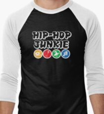 Hip Hop Junkie Golden Era Rap Music  Men's Baseball ¾ T-Shirt