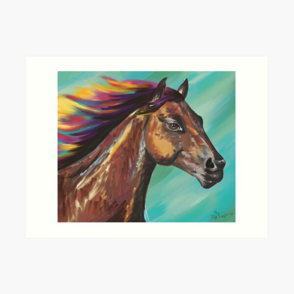 Galloping Horse with a Rainbow Mane Art Print