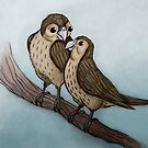 Sparrows on a tree branch by Extreme-Fantasy