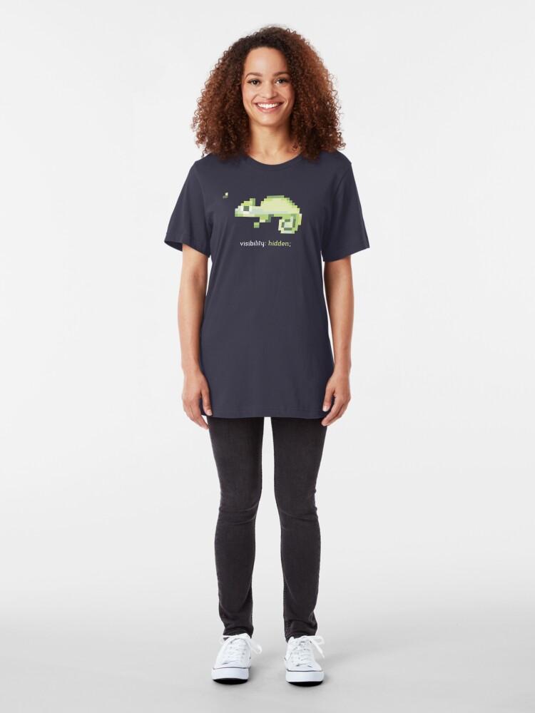 Alternate view of CSS 8-bit Chameleon - Programming Slim Fit T-Shirt