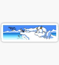 Bored Yeti Flicking Penguins into Water Sticker