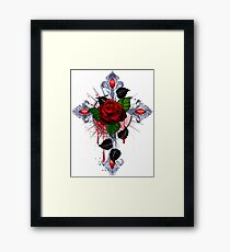 Cross with a red rose Framed Print