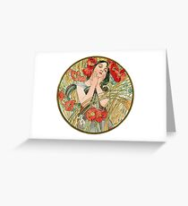 August from the 1889 Calendar by Alphonse Mucha Greeting Card
