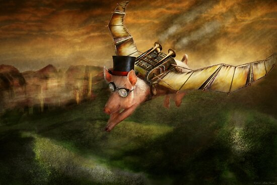 Flying Pig - Steampunk - The flying swine by Michael Savad